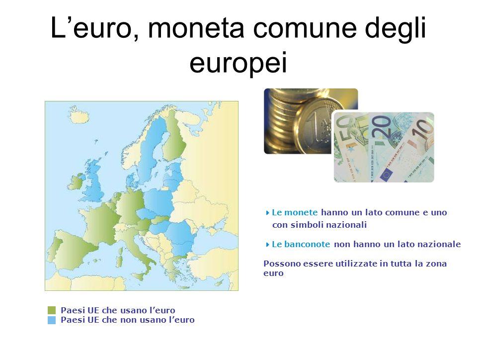 Leuro, moneta comune degli europei Paesi UE che usano leuro Paesi UE che non usano leuro Le monete hanno un lato comune e uno con simboli nazionali Le