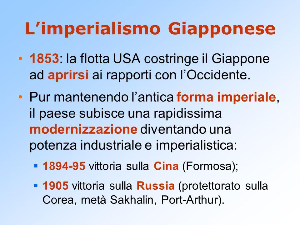 Limperialismo Giapponese 1853: la flotta USA costringe il Giappone ad aprirsi ai rapporti con lOccidente. Pur mantenendo lantica forma imperiale, il p