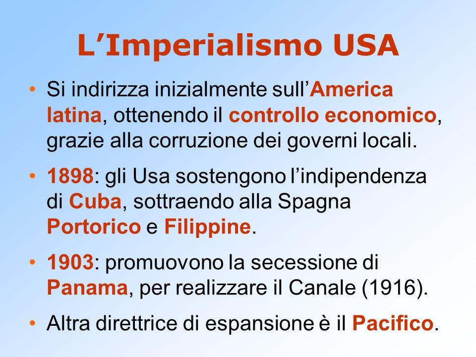 LImperialismo USA Si indirizza inizialmente sullAmerica latina, ottenendo il controllo economico, grazie alla corruzione dei governi locali. 1898: gli