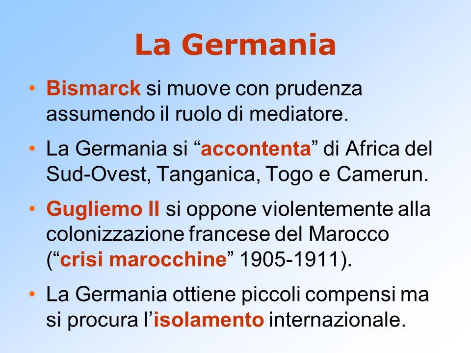 La Germania Bismarck si muove con prudenza assumendo il ruolo di mediatore. La Germania si accontenta di Africa del Sud-Ovest, Tanganica, Togo e Camer