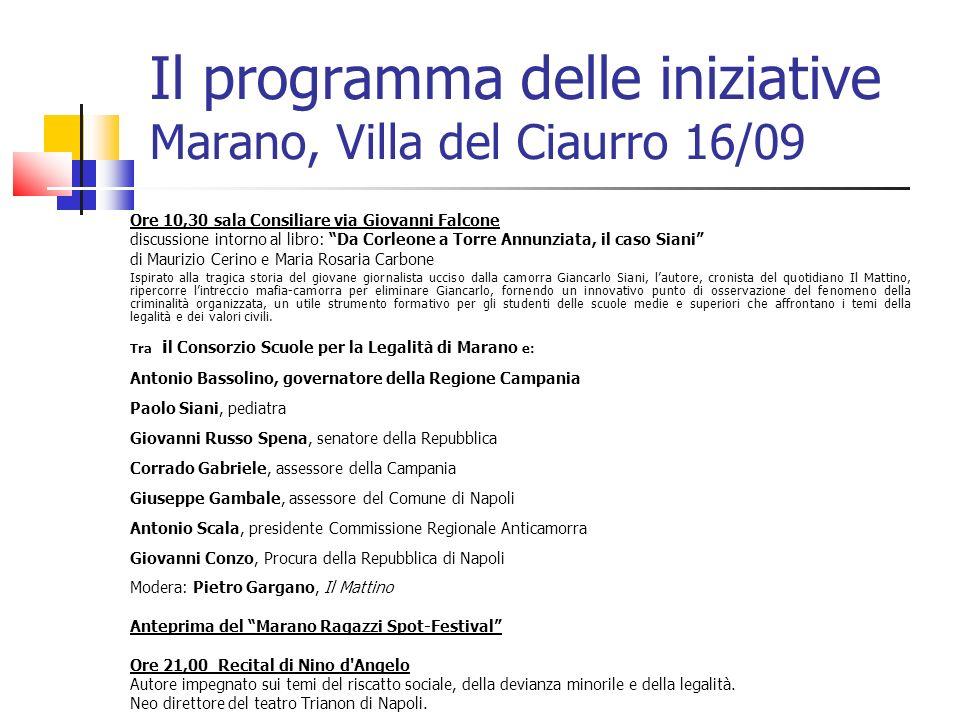 Il programma delle iniziative Marano, Villa del Ciaurro 16/09 Ore 10,30 sala Consiliare via Giovanni Falcone discussione intorno al libro: Da Corleone