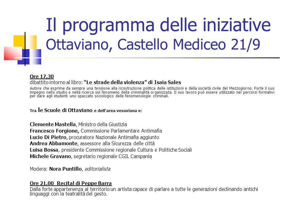Il programma delle iniziative Ottaviano, Castello Mediceo 21/9 Ore 17,30 dibattito intorno al libro: Le strade della violenza di Isaia Sales Autore ch