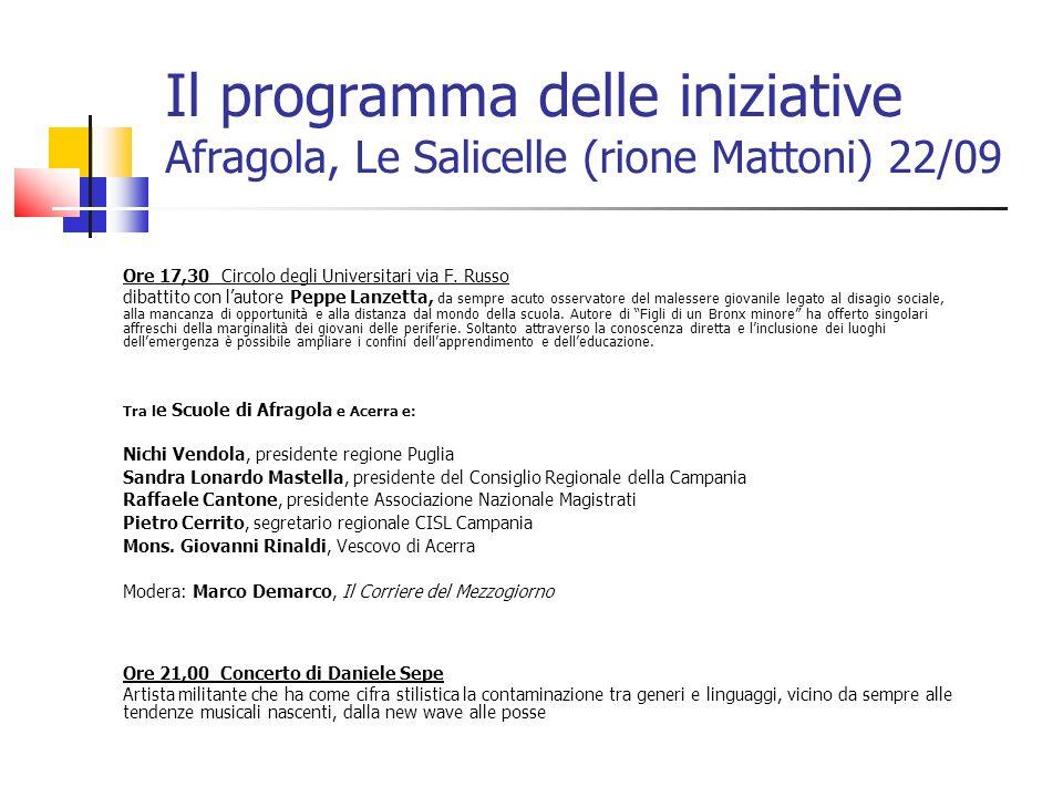 Il programma delle iniziative Afragola, Le Salicelle (rione Mattoni) 22/09 Ore 17,30 Circolo degli Universitari via F. Russo dibattito con lautore Pep
