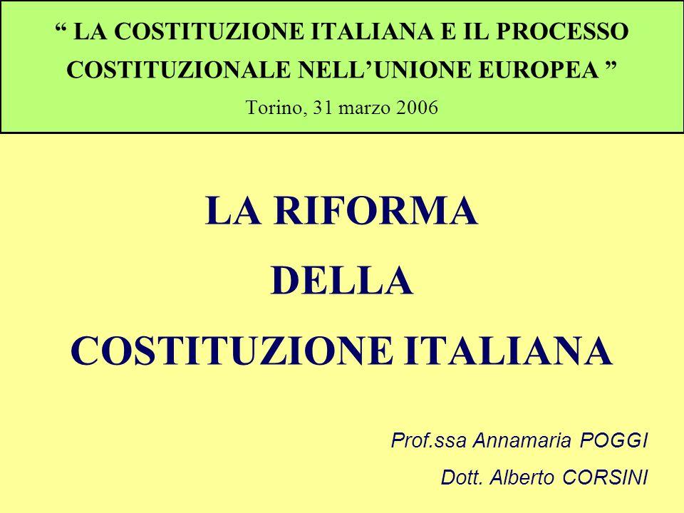 LA COSTITUZIONE ITALIANA E IL PROCESSO COSTITUZIONALE NELLUNIONE EUROPEA Torino, 31 marzo 2006 LA RIFORMA DELLA COSTITUZIONE ITALIANA Prof.ssa Annamar