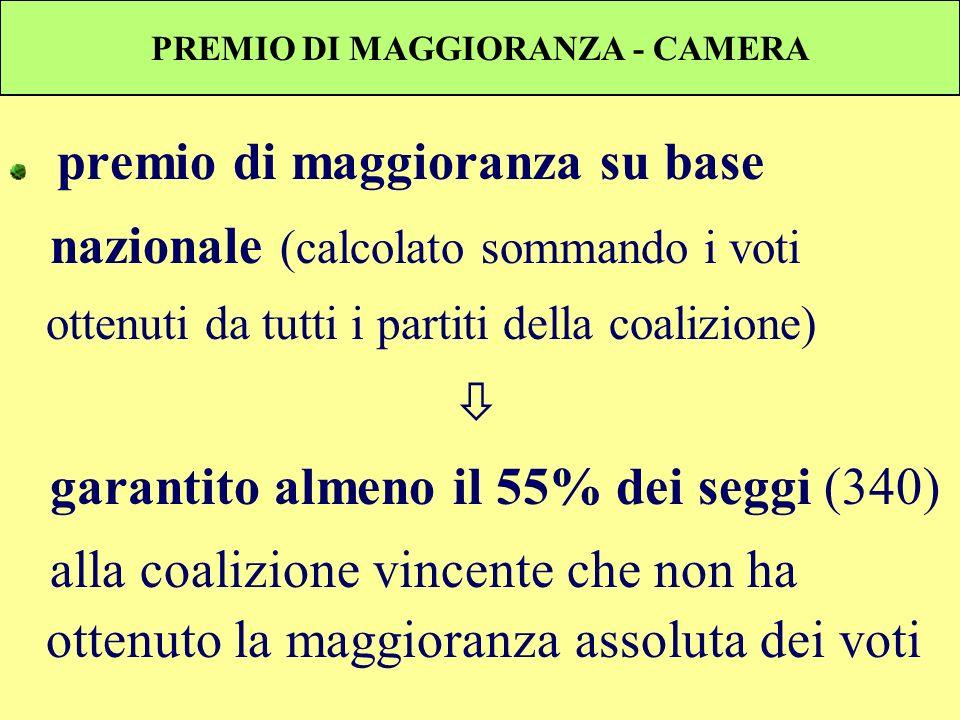 PREMIO DI MAGGIORANZA - CAMERA premio di maggioranza su base nazionale (calcolato sommando i voti ottenuti da tutti i partiti della coalizione) garant