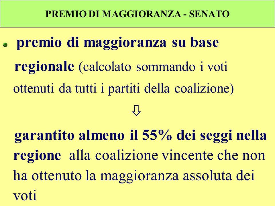 PREMIO DI MAGGIORANZA - SENATO premio di maggioranza su base regionale (calcolato sommando i voti ottenuti da tutti i partiti della coalizione) garant