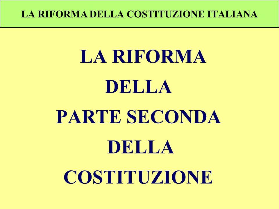 LA RIFORMA DELLA COSTITUZIONE ITALIANA LA RIFORMA DELLA PARTE SECONDA DELLA COSTITUZIONE