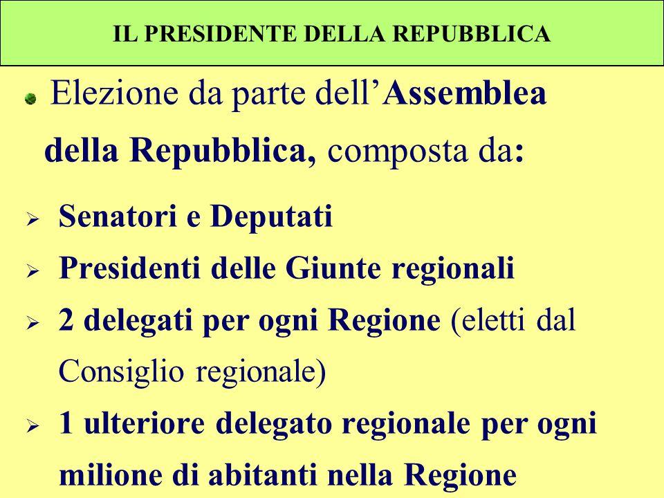 IL PRESIDENTE DELLA REPUBBLICA Elezione da parte dellAssemblea della Repubblica, composta da: Senatori e Deputati Presidenti delle Giunte regionali 2