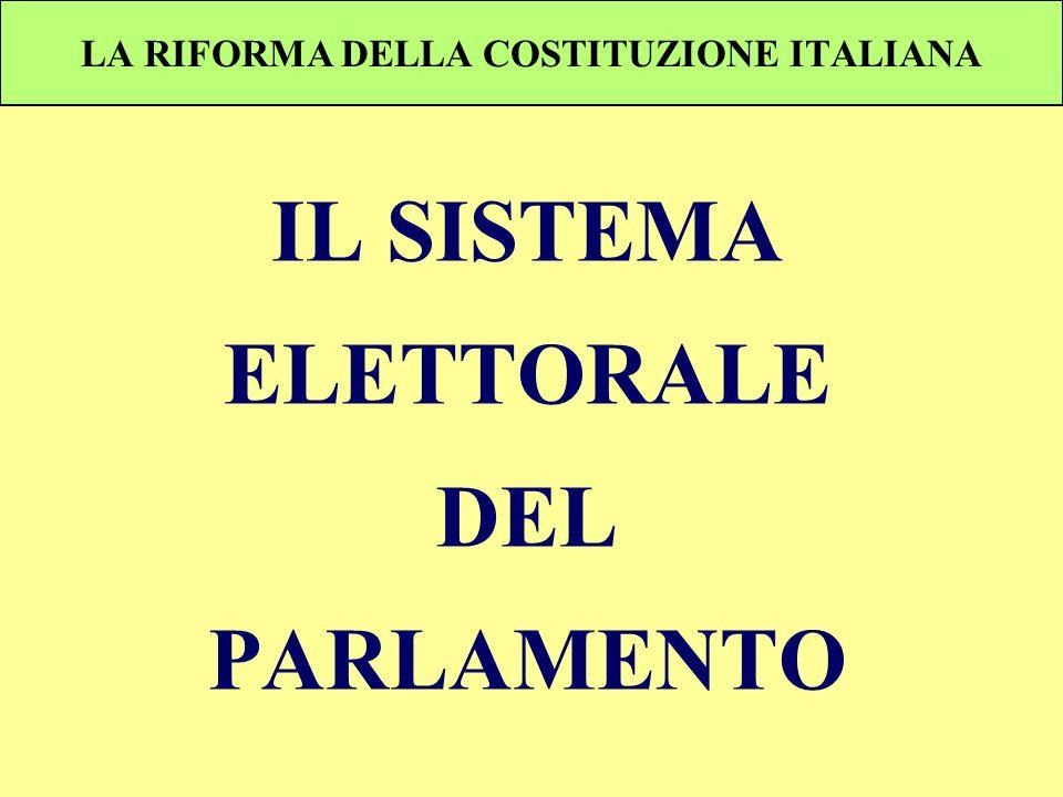 LA RIFORMA DELLA COSTITUZIONE ITALIANA IL SISTEMA ELETTORALE DEL PARLAMENTO