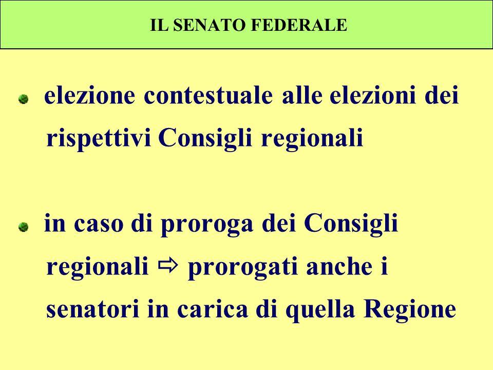 IL SENATO FEDERALE elezione contestuale alle elezioni dei rispettivi Consigli regionali in caso di proroga dei Consigli regionali prorogati anche i se