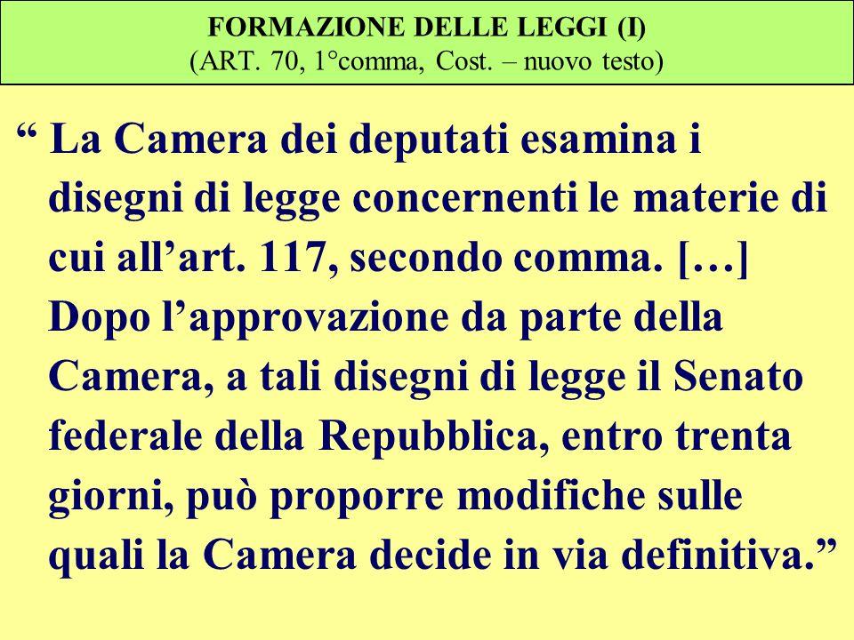FORMAZIONE DELLE LEGGI (I) (ART. 70, 1°comma, Cost. – nuovo testo) La Camera dei deputati esamina i disegni di legge concernenti le materie di cui all
