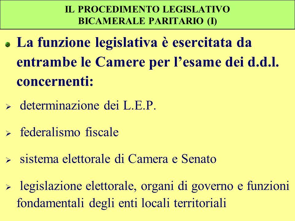 IL PROCEDIMENTO LEGISLATIVO BICAMERALE PARITARIO (I) La funzione legislativa è esercitata da entrambe le Camere per lesame dei d.d.l. concernenti: det