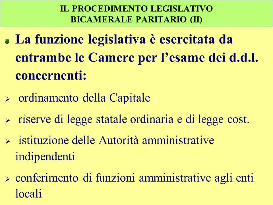 IL PROCEDIMENTO LEGISLATIVO BICAMERALE PARITARIO (II) La funzione legislativa è esercitata da entrambe le Camere per lesame dei d.d.l. concernenti: or