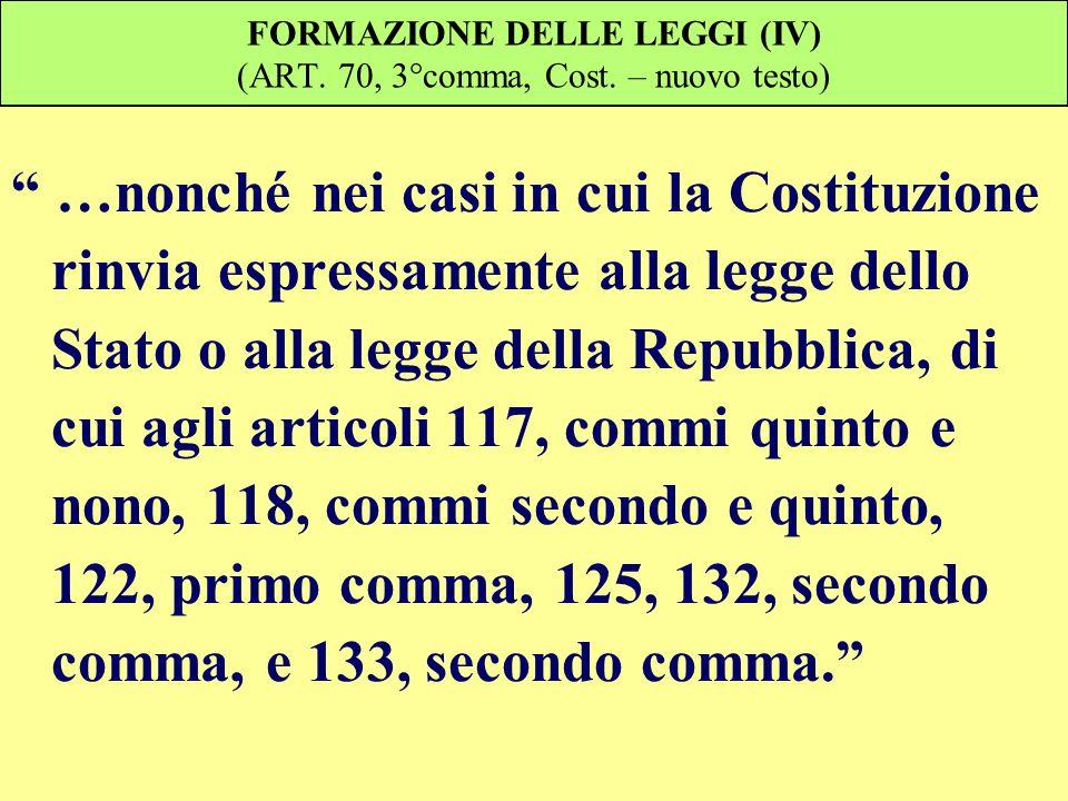 FORMAZIONE DELLE LEGGI (IV) (ART. 70, 3°comma, Cost. – nuovo testo) …nonché nei casi in cui la Costituzione rinvia espressamente alla legge dello Stat