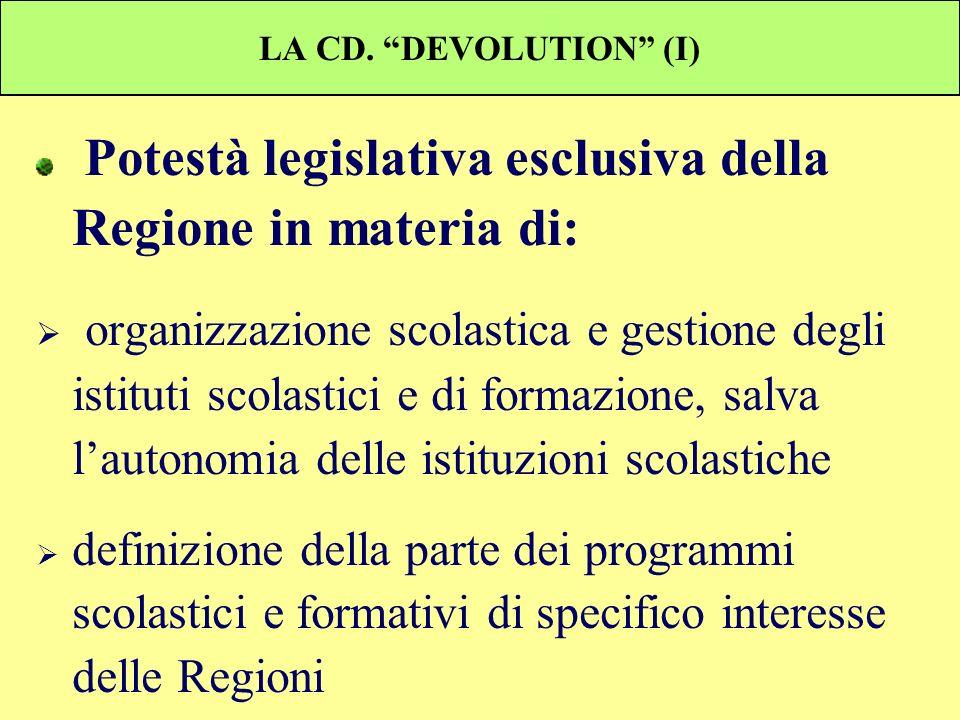 LA CD. DEVOLUTION (I) Potestà legislativa esclusiva della Regione in materia di: organizzazione scolastica e gestione degli istituti scolastici e di f