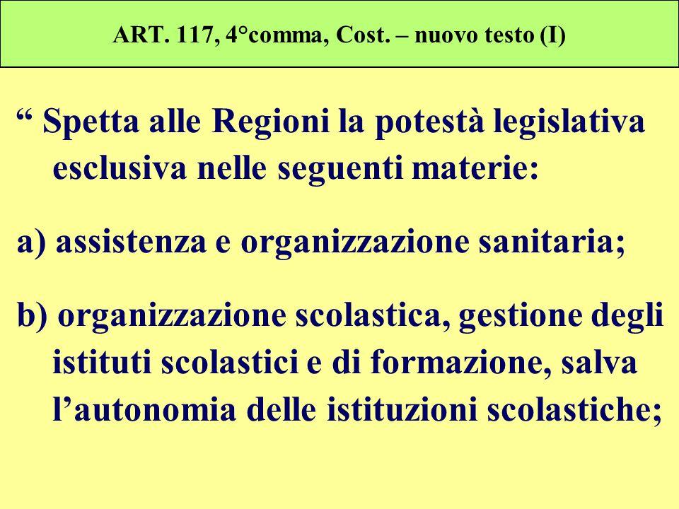 ART. 117, 4°comma, Cost. – nuovo testo (I) Spetta alle Regioni la potestà legislativa esclusiva nelle seguenti materie: a) assistenza e organizzazione