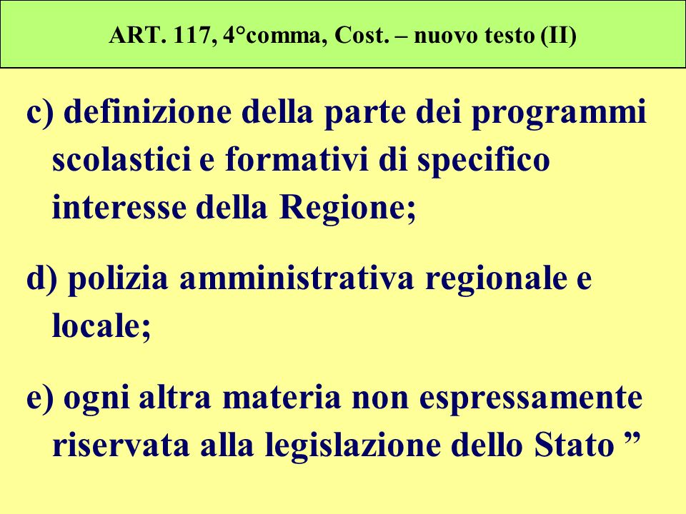 ART. 117, 4°comma, Cost. – nuovo testo (II) c) definizione della parte dei programmi scolastici e formativi di specifico interesse della Regione; d) p