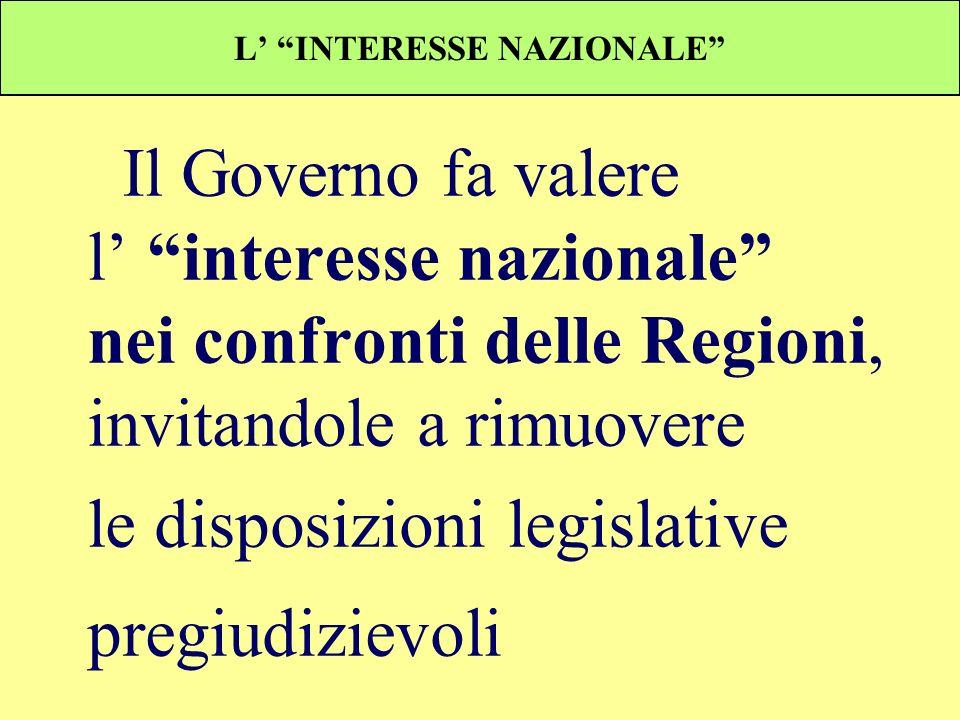 L INTERESSE NAZIONALE Il Governo fa valere l interesse nazionale nei confronti delle Regioni, invitandole a rimuovere le disposizioni legislative preg
