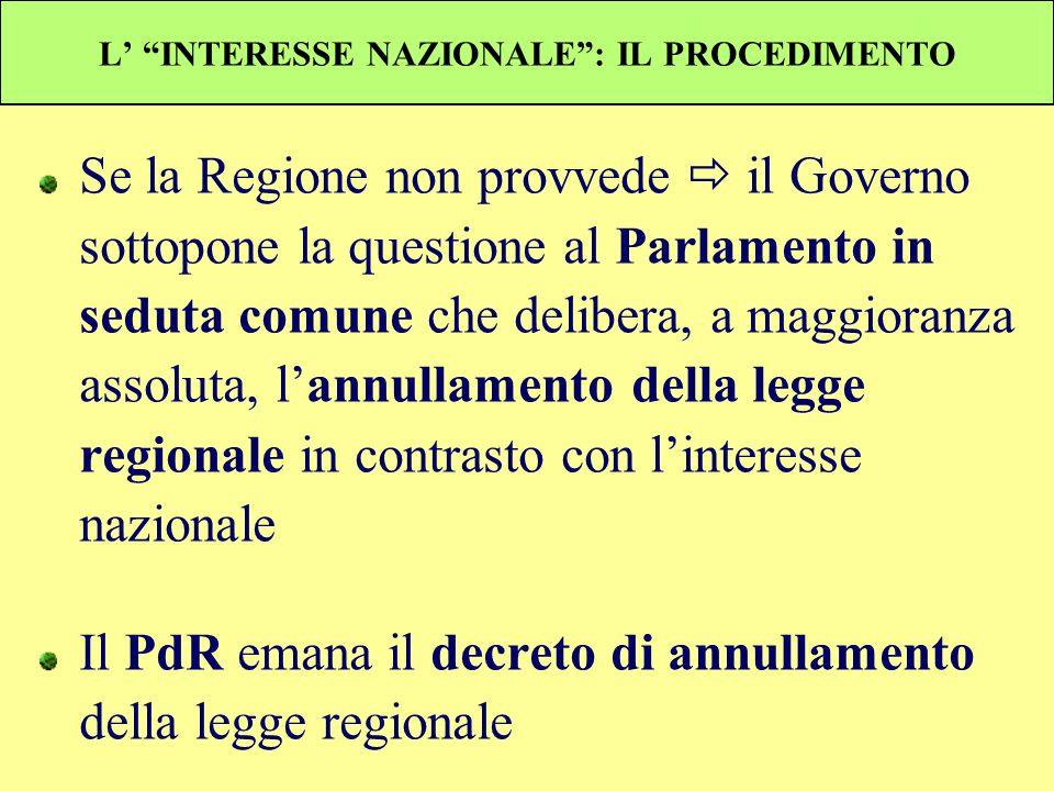 L INTERESSE NAZIONALE: IL PROCEDIMENTO Se la Regione non provvede il Governo sottopone la questione al Parlamento in seduta comune che delibera, a mag
