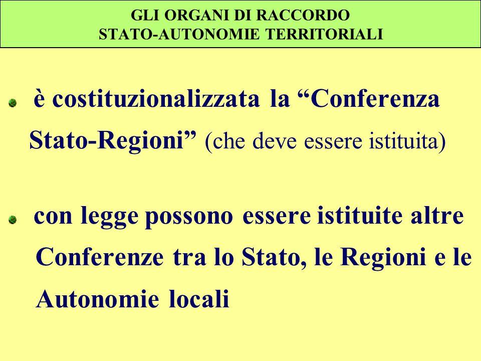 GLI ORGANI DI RACCORDO STATO-AUTONOMIE TERRITORIALI è costituzionalizzata la Conferenza Stato-Regioni (che deve essere istituita) con legge possono es