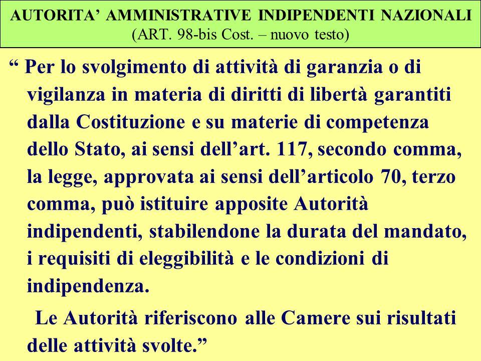 AUTORITA AMMINISTRATIVE INDIPENDENTI NAZIONALI (ART. 98-bis Cost. – nuovo testo) Per lo svolgimento di attività di garanzia o di vigilanza in materia