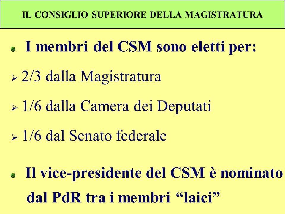 IL CONSIGLIO SUPERIORE DELLA MAGISTRATURA I membri del CSM sono eletti per: 2/3 dalla Magistratura 1/6 dalla Camera dei Deputati 1/6 dal Senato federa