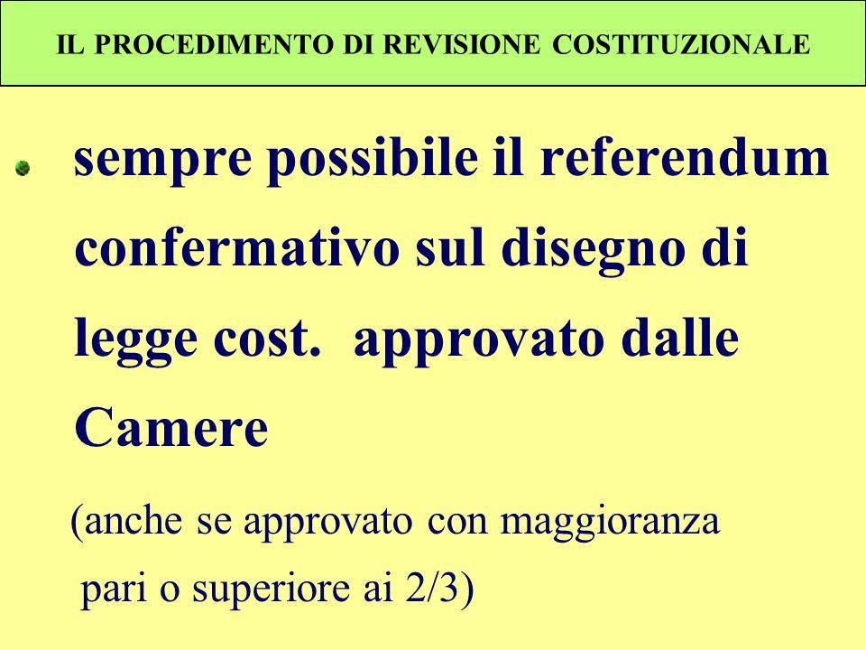 IL PROCEDIMENTO DI REVISIONE COSTITUZIONALE sempre possibile il referendum confermativo sul disegno di legge cost. approvato dalle Camere (anche se ap