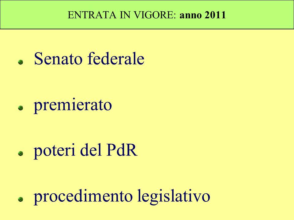 ENTRATA IN VIGORE: anno 2011 Senato federale premierato poteri del PdR procedimento legislativo