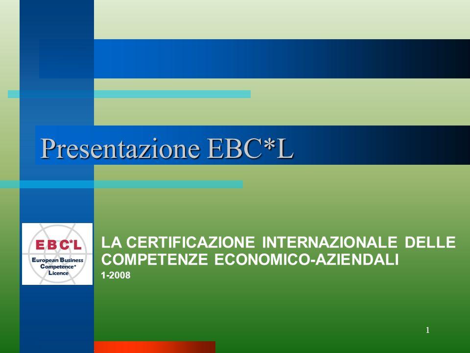 EBCL ITALIA 1 Presentazione EBC*L LA CERTIFICAZIONE INTERNAZIONALE DELLE COMPETENZE ECONOMICO-AZIENDALI 1-2008