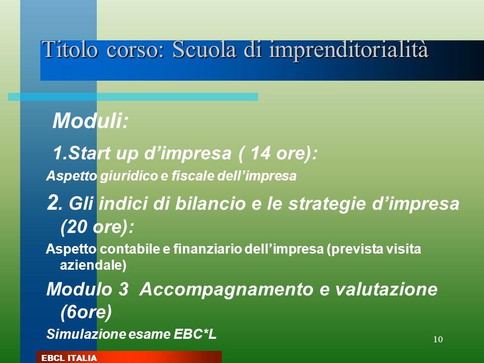 EBCL ITALIA 10 Titolo corso: Scuola di imprenditorialità Moduli: 1.Start up dimpresa ( 14 ore): Aspetto giuridico e fiscale dellimpresa 2. Gli indici