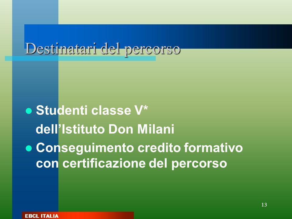 EBCL ITALIA 13 Destinatari del percorso Studenti classe V* dellIstituto Don Milani Conseguimento credito formativo con certificazione del percorso