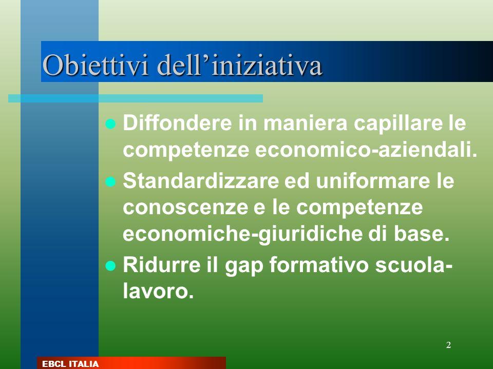 EBCL ITALIA 2 Obiettivi delliniziativa Diffondere in maniera capillare le competenze economico-aziendali. Standardizzare ed uniformare le conoscenze e