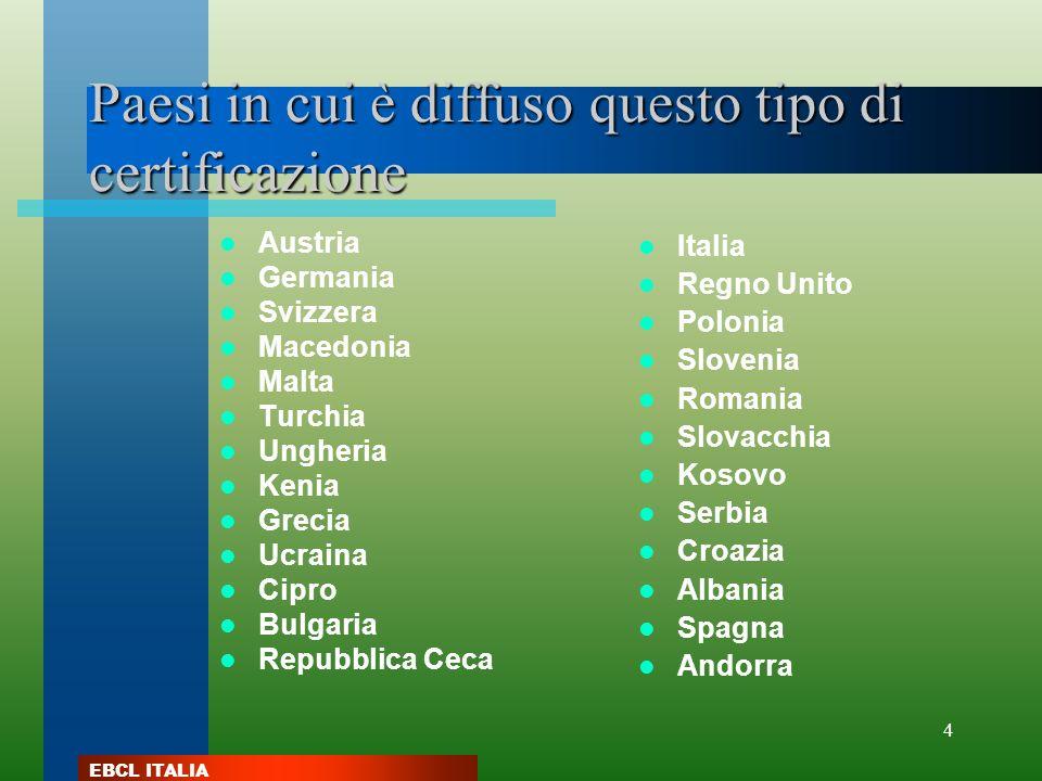 EBCL ITALIA 4 Paesi in cui è diffuso questo tipo di certificazione Austria Germania Svizzera Macedonia Malta Turchia Ungheria Kenia Grecia Ucraina Cip