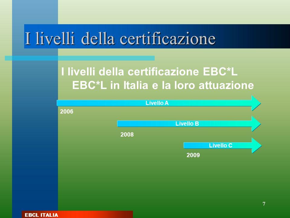 EBCL ITALIA 7 I livelli della certificazione I livelli della certificazione EBC*L EBC*L in Italia e la loro attuazione Livello C 2009 2006 Livello A 2