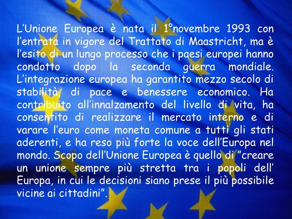 LUnione Europea è nata il 1°novembre 1993 con lentrata in vigore del Trattato di Maastricht, ma è lesito di un lungo processo che i paesi europei hann