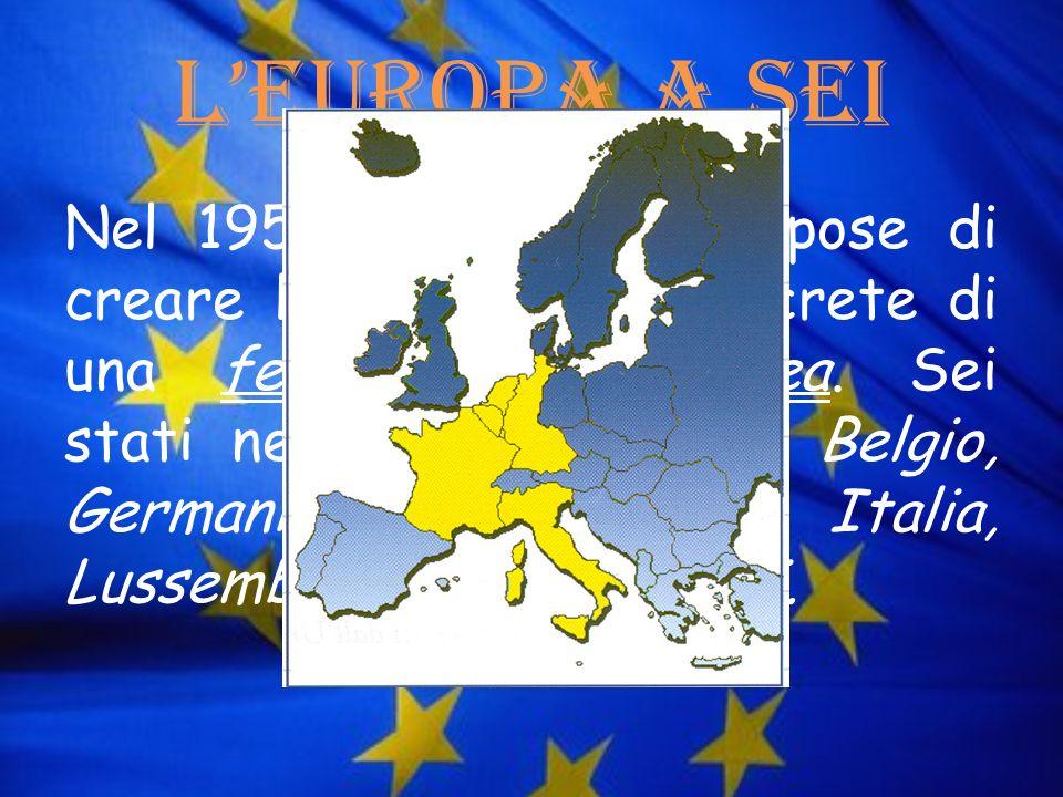 LEuropa a Sei Nel 1950 la Francia propose di creare le prime basi concrete di una federazione europea. Sei stati ne facevano parte: Belgio, Germania,
