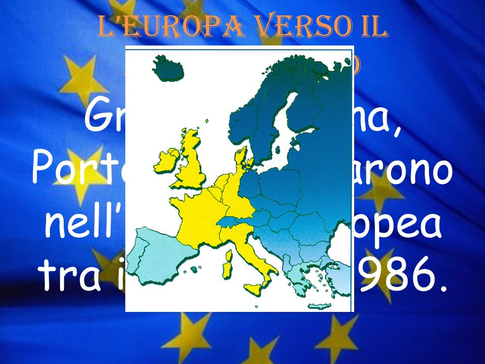 LEuropa verso il mediterraneo Grecia, Spagna, Portogallo entrarono nellUnione Europea tra il 1981 e il 1986.