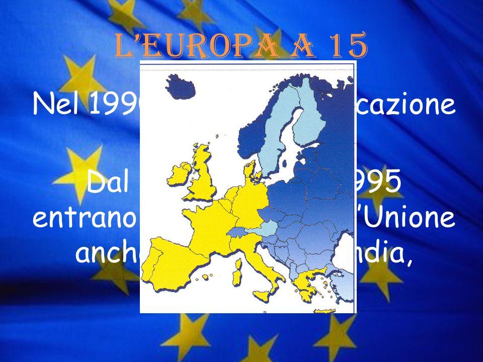 LEuropa a 15 Nel 1990 si ha la riunificazione della Germania Dal primo gennaio 1995 entrano a far parte dellUnione anche Austria, Finlandia, Svezia.