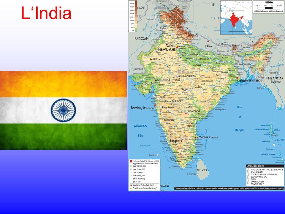 I confini L India si incunea nell Oceano Indiano fra il Mare Arabico e il Golfo del Bengala ed è delimitata a settentrione dall imponente catena dell Himalaya,che conta ben 10 cime superiori agli 8000 m.