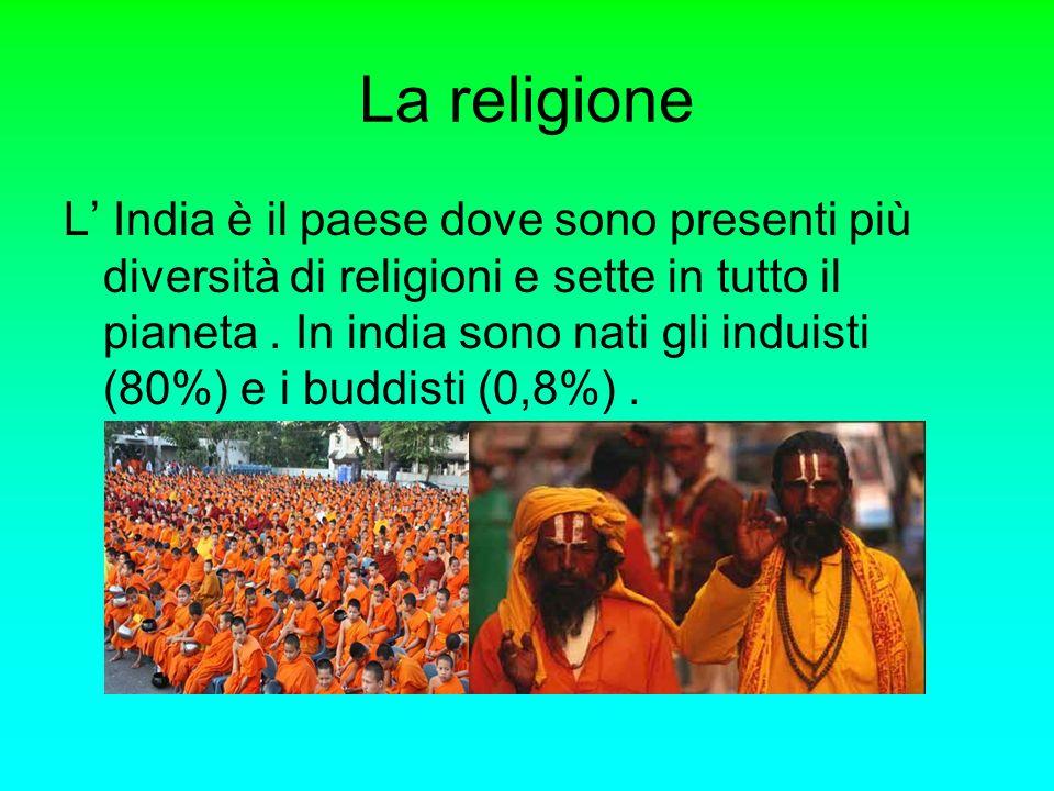 La religione L India è il paese dove sono presenti più diversità di religioni e sette in tutto il pianeta. In india sono nati gli induisti (80%) e i b