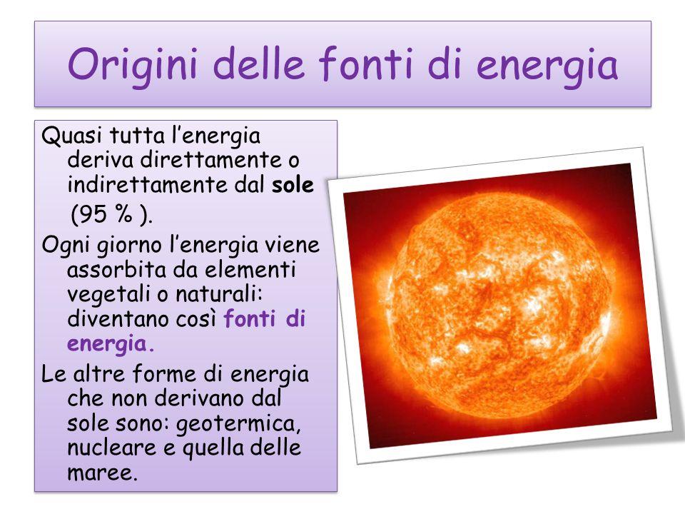 Origini delle fonti di energia Quasi tutta lenergia deriva direttamente o indirettamente dal sole (95 % ).