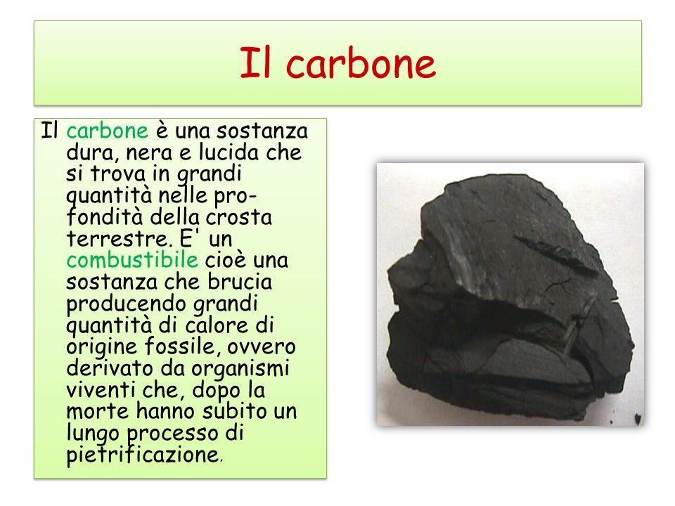Il carbone Il carbone è una sostanza dura, nera e lucida che si trova in grandi quantità nelle pro- fondità della crosta terrestre.