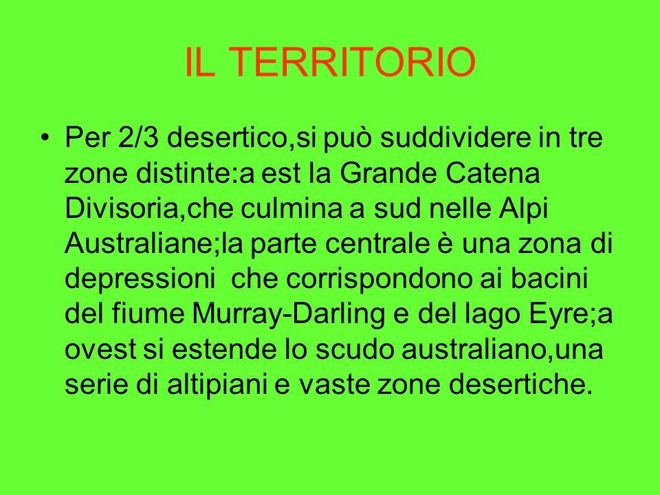 IL TERRITORIO Per 2/3 desertico,si può suddividere in tre zone distinte:a est la Grande Catena Divisoria,che culmina a sud nelle Alpi Australiane;la p