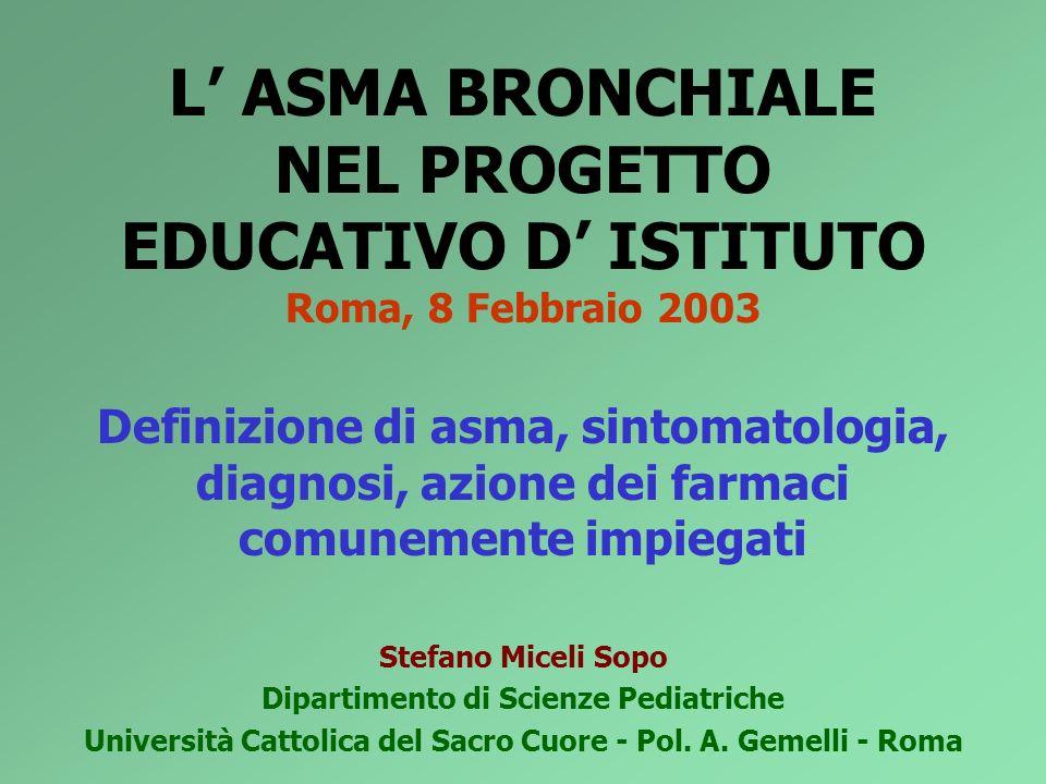 L ASMA BRONCHIALE NEL PROGETTO EDUCATIVO D ISTITUTO Roma, 8 Febbraio 2003 Definizione di asma, sintomatologia, diagnosi, azione dei farmaci comunement