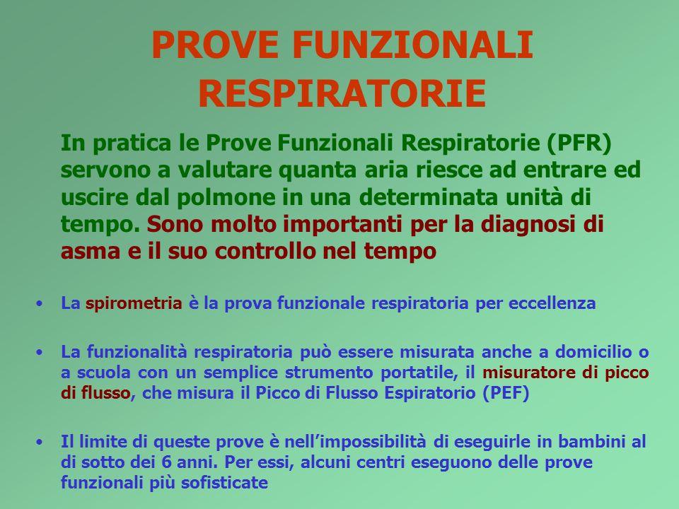 PROVE FUNZIONALI RESPIRATORIE In pratica le Prove Funzionali Respiratorie (PFR) servono a valutare quanta aria riesce ad entrare ed uscire dal polmone