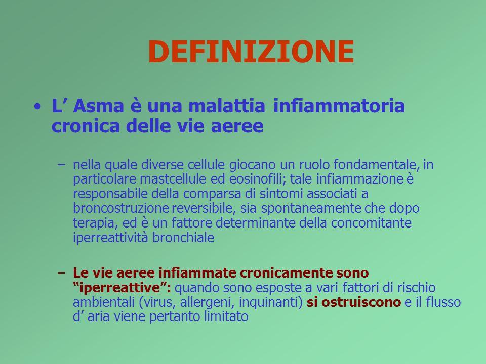 DEFINIZIONE L Asma è una malattia infiammatoria cronica delle vie aeree –nella quale diverse cellule giocano un ruolo fondamentale, in particolare mas