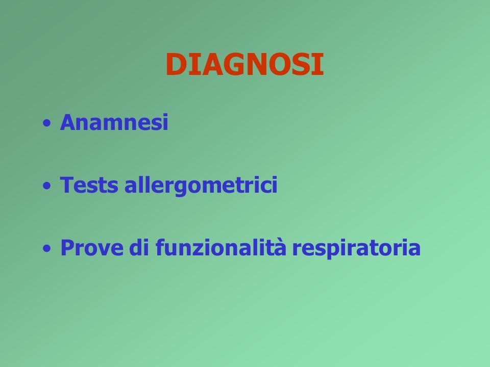 DIAGNOSI Anamnesi Tests allergometrici Prove di funzionalità respiratoria