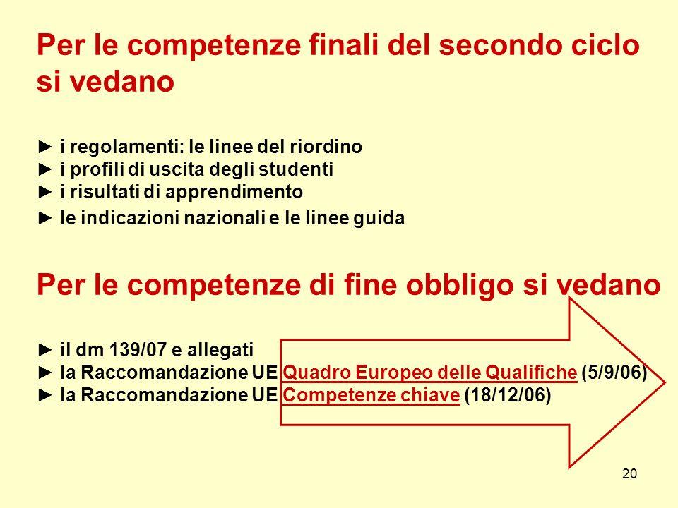 20 Per le competenze finali del secondo ciclo si vedano i regolamenti: le linee del riordino i profili di uscita degli studenti i risultati di apprend