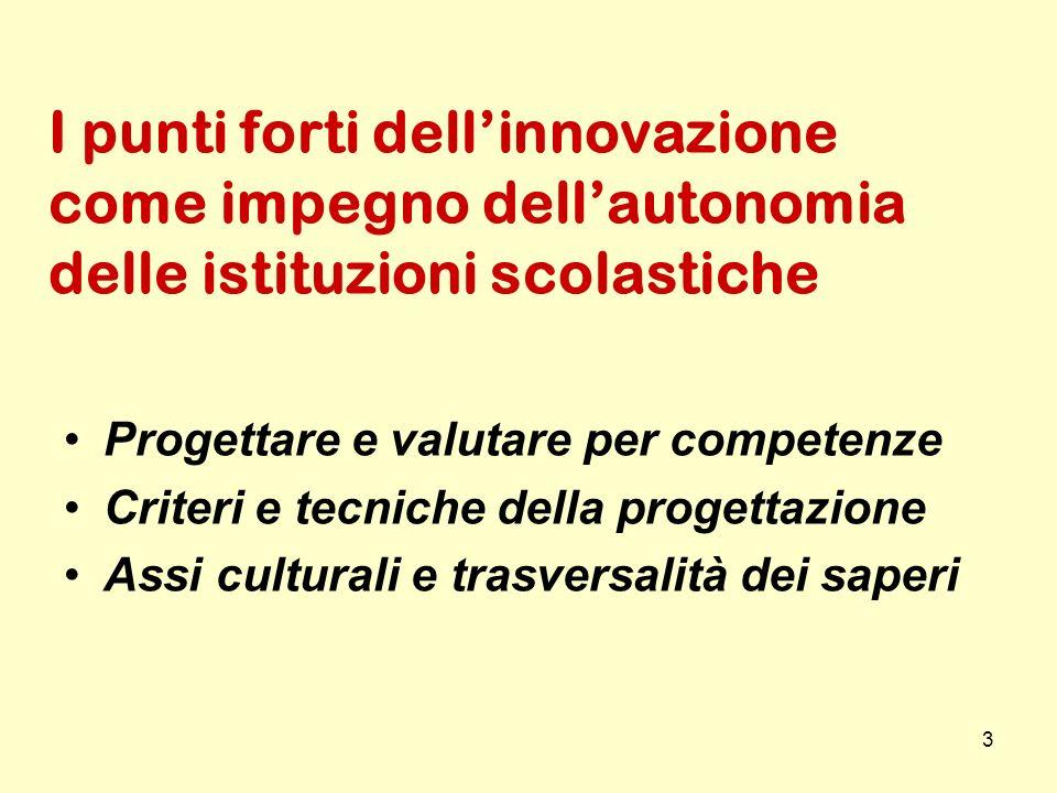 3 I punti forti dellinnovazione come impegno dellautonomia delle istituzioni scolastiche Progettare e valutare per competenze Criteri e tecniche della