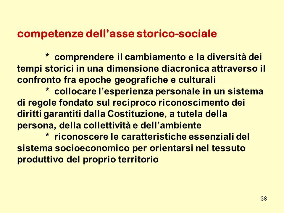 38 competenze dellasse storico-sociale * comprendere il cambiamento e la diversità dei tempi storici in una dimensione diacronica attraverso il confro